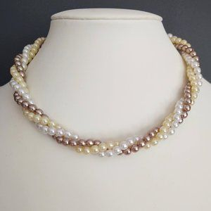 Vintage twisted tri-colored faux pearl necklace